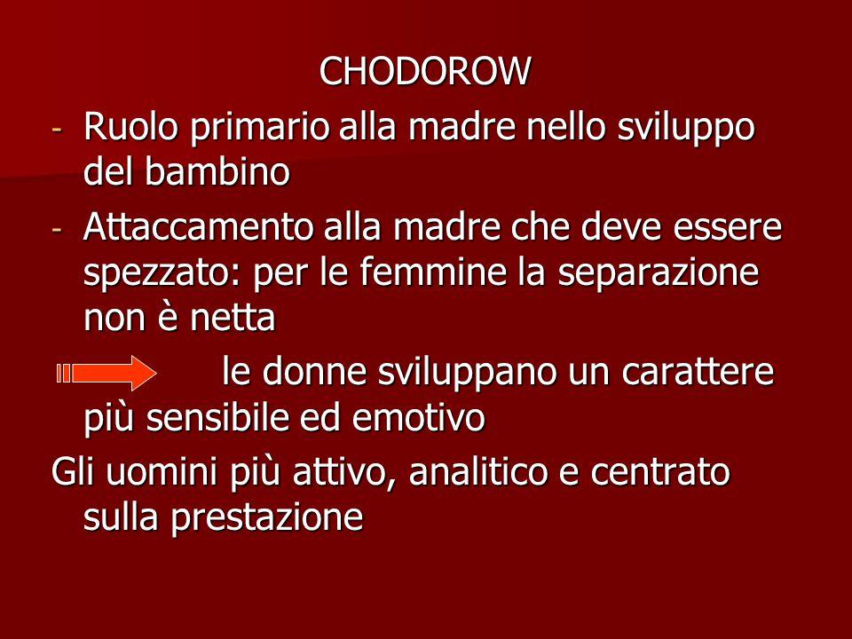 CHODOROW - Ruolo primario alla madre nello sviluppo del bambino - Attaccamento alla madre che deve essere spezzato: per le femmine la separazione non