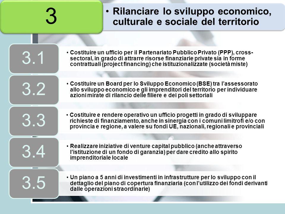 Rilanciare lo sviluppo economico, culturale e sociale del territorio 3 Costituire un ufficio per il Partenariato Pubblico Privato (PPP), cross- sector