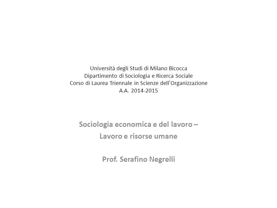 Università degli Studi di Milano Bicocca Dipartimento di Sociologia e Ricerca Sociale Corso di Laurea Triennale in Scienze dell ' Organizzazione A.A.