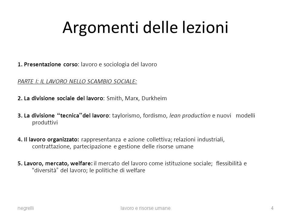Argomenti delle lezioni 1.
