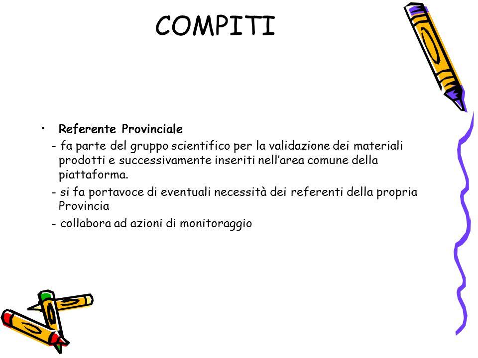 COMPITI Referente Provinciale - fa parte del gruppo scientifico per la validazione dei materiali prodotti e successivamente inseriti nell'area comune della piattaforma.