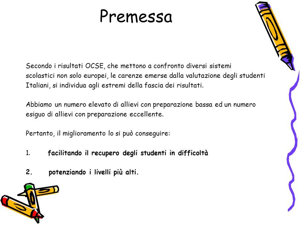 Premessa Secondo i risultati OCSE, che mettono a confronto diversi sistemi scolastici non solo europei, le carenze emerse dalla valutazione degli studenti Italiani, si individua agli estremi della fascia dei risultati.
