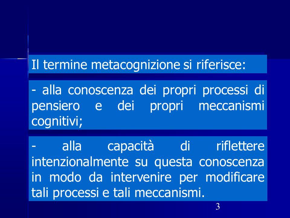 3 Il termine metacognizione si riferisce: - alla conoscenza dei propri processi di pensiero e dei propri meccanismi cognitivi; - alla capacità di rifl