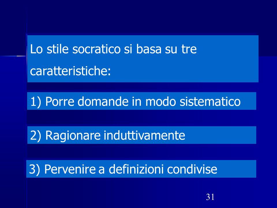 31 Lo stile socratico si basa su tre caratteristiche: 1) Porre domande in modo sistematico 2) Ragionare induttivamente 3) Pervenire a definizioni cond