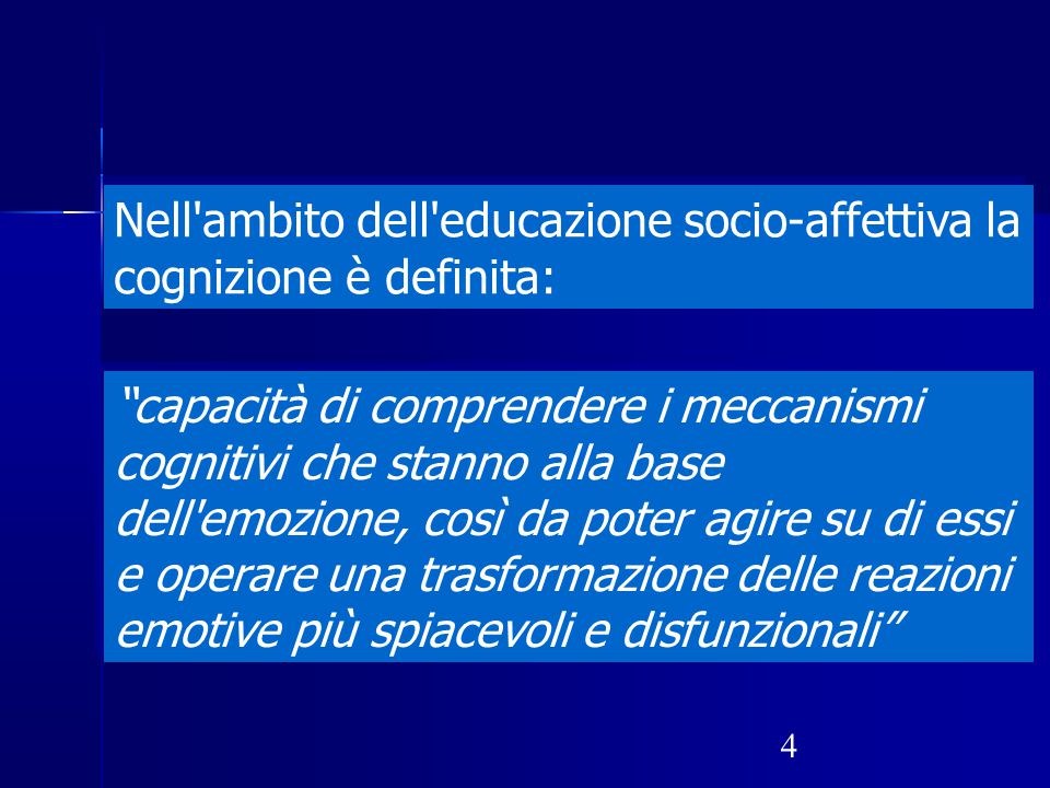 """4 Nell'ambito dell'educazione socio-affettiva la cognizione è definita: """"capacità di comprendere i meccanismi cognitivi che stanno alla base dell'emoz"""