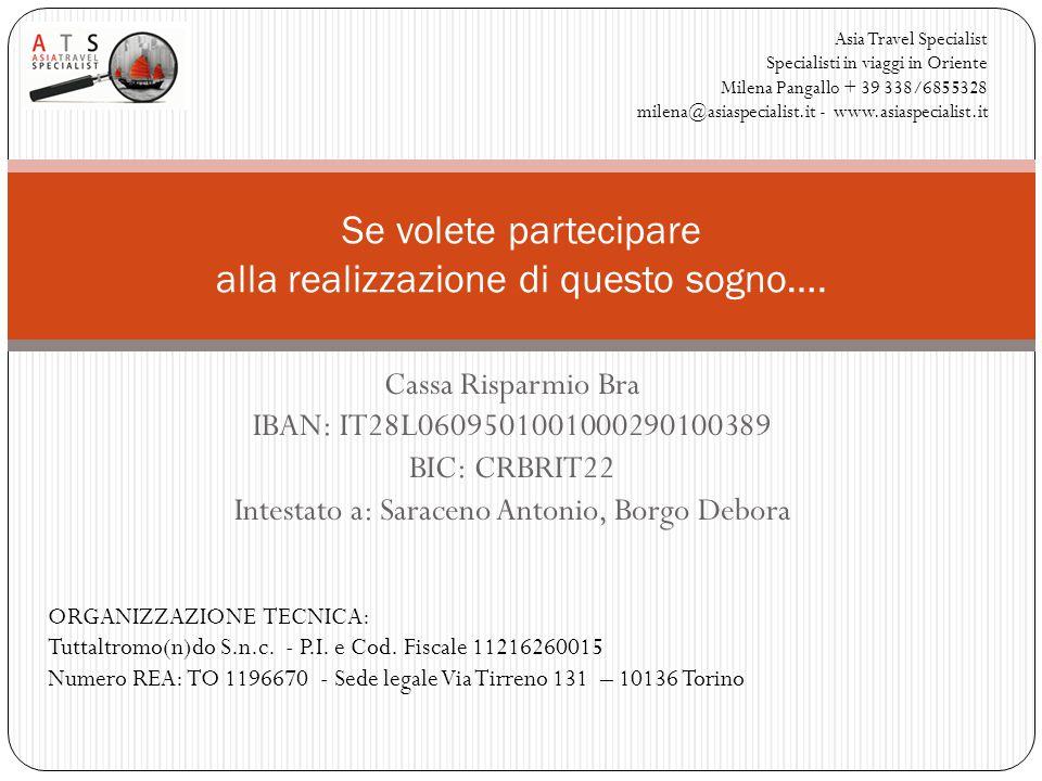 Cassa Risparmio Bra IBAN: IT28L0609501001000290100389 BIC: CRBRIT22 Intestato a: Saraceno Antonio, Borgo Debora Se volete partecipare alla realizzazione di questo sogno….