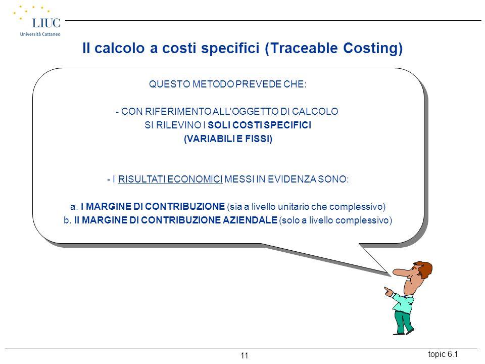 topic 6.1 11 QUESTO METODO PREVEDE CHE: - CON RIFERIMENTO ALL OGGETTO DI CALCOLO SI RILEVINO I SOLI COSTI SPECIFICI (VARIABILI E FISSI) - I RISULTATI ECONOMICI MESSI IN EVIDENZA SONO: a.