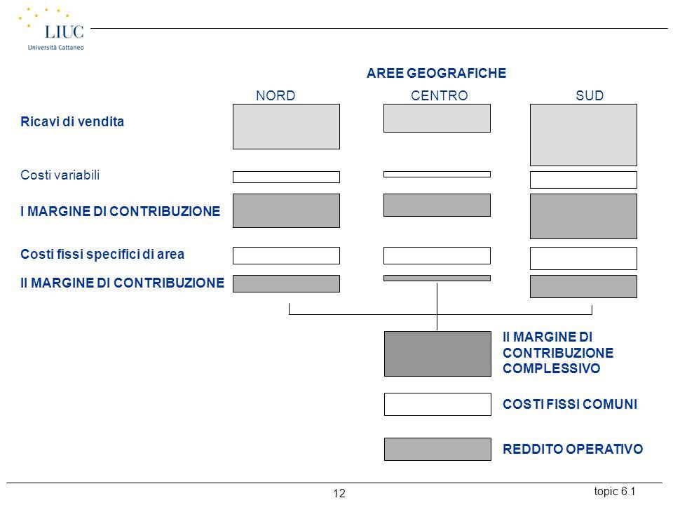 topic 6.1 12 AREE GEOGRAFICHE NORDCENTROSUD Ricavi di vendita Costi variabili I MARGINE DI CONTRIBUZIONE Costi fissi specifici di area II MARGINE DI CONTRIBUZIONE II MARGINE DI CONTRIBUZIONE COMPLESSIVO COSTI FISSI COMUNI REDDITO OPERATIVO