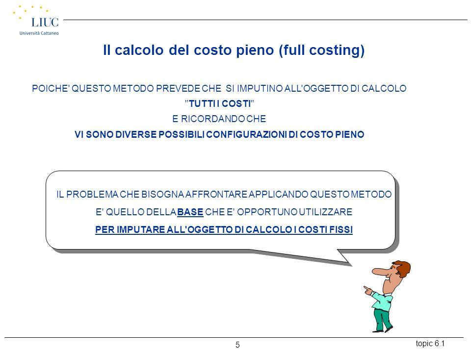 topic 6.1 5 POICHE QUESTO METODO PREVEDE CHE SI IMPUTINO ALL OGGETTO DI CALCOLO TUTTI I COSTI E RICORDANDO CHE VI SONO DIVERSE POSSIBILI CONFIGURAZIONI DI COSTO PIENO IL PROBLEMA CHE BISOGNA AFFRONTARE APPLICANDO QUESTO METODO E QUELLO DELLA BASE CHE E OPPORTUNO UTILIZZARE PER IMPUTARE ALL OGGETTO DI CALCOLO I COSTI FISSI Il calcolo del costo pieno (full costing)