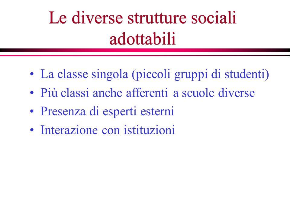 Le diverse strutture sociali adottabili La classe singola (piccoli gruppi di studenti) Più classi anche afferenti a scuole diverse Presenza di esperti