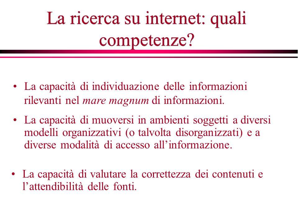La ricerca su internet: quali competenze? La capacità di individuazione delle informazioni rilevanti nel mare magnum di informazioni. La capacità di m