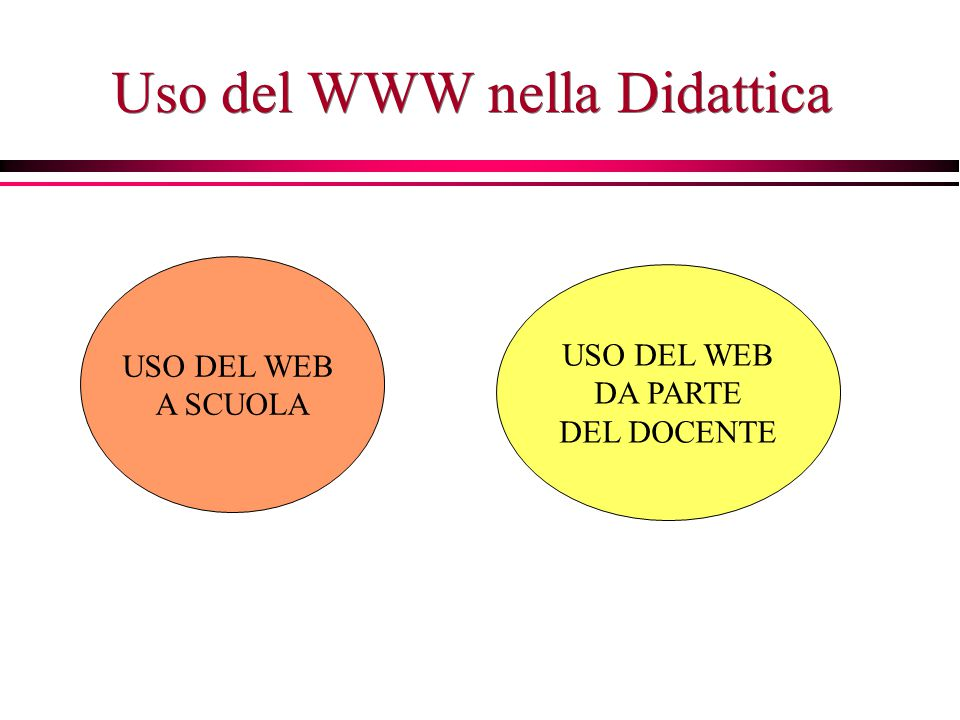 Uso del WWW nella Didattica USO DEL WEB A SCUOLA USO DEL WEB DA PARTE DEL DOCENTE