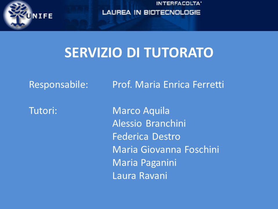 SERVIZIO DI TUTORATO Responsabile:Prof.