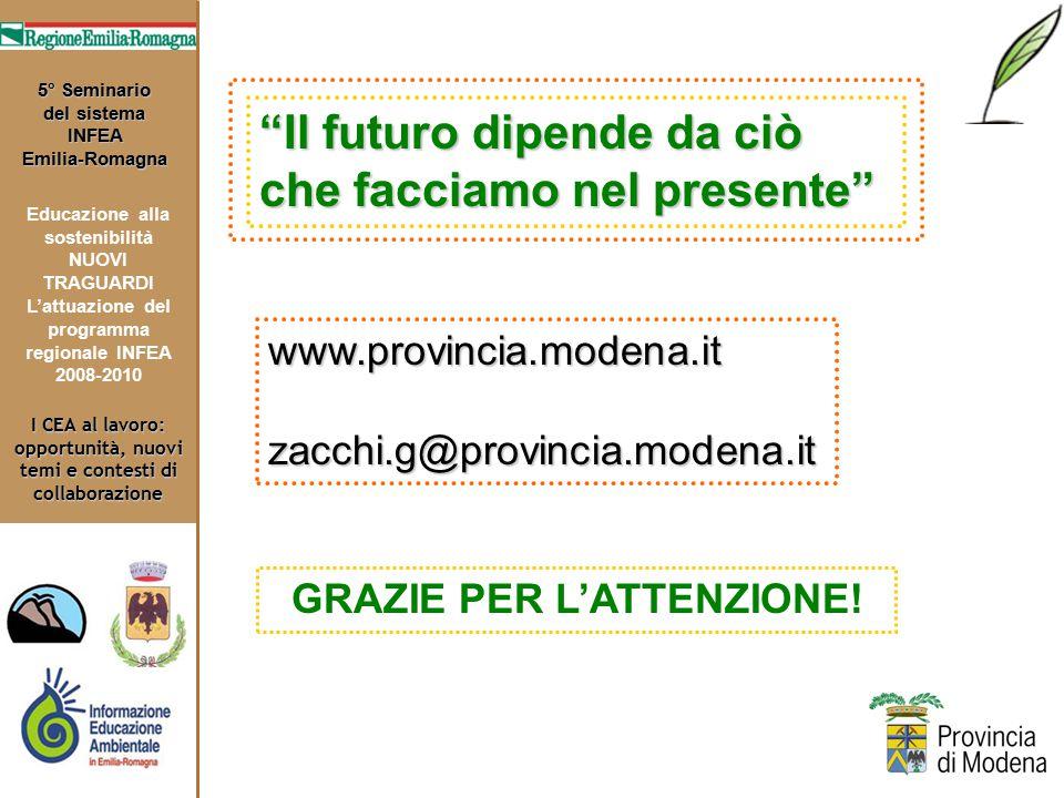 I CEA al lavoro: opportunità, nuovi temi e contesti di collaborazione 5° Seminario del sistema INFEA Emilia-Romagna Educazione alla sostenibilità NUOVI TRAGUARDI L'attuazione del programma regionale INFEA 2008-2010 Il futuro dipende da ciò che facciamo nel presente www.provincia.modena.it zacchi.g@provincia.modena.it GRAZIE PER L'ATTENZIONE!