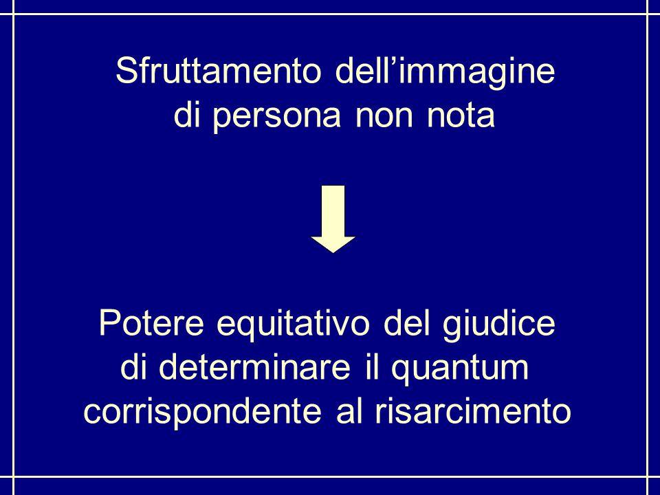 Sfruttamento dell'immagine di persona non nota Potere equitativo del giudice di determinare il quantum corrispondente al risarcimento