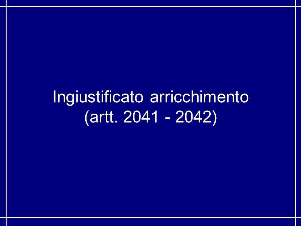 Ingiustificato arricchimento (artt. 2041 - 2042)