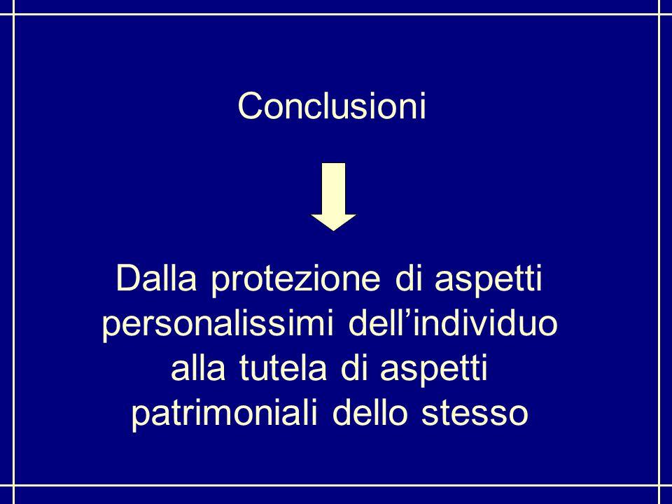 Conclusioni Dalla protezione di aspetti personalissimi dell'individuo alla tutela di aspetti patrimoniali dello stesso