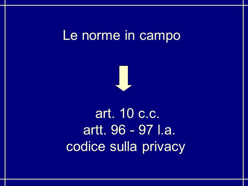 Le norme in campo art. 10 c.c. artt. 96 - 97 l.a. codice sulla privacy
