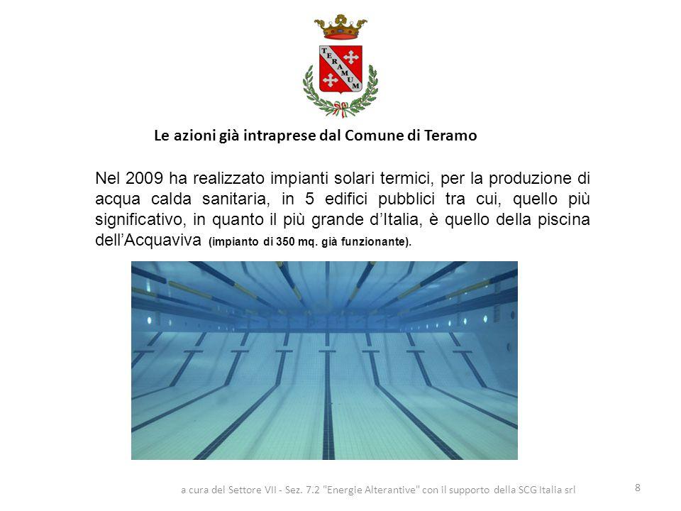 Le azioni già intraprese dal Comune di Teramo 8 Nel 2009 ha realizzato impianti solari termici, per la produzione di acqua calda sanitaria, in 5 edifici pubblici tra cui, quello più significativo, in quanto il più grande d'Italia, è quello della piscina dell'Acquaviva (impianto di 350 mq.