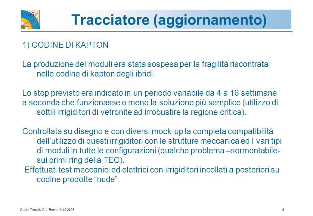 Guido Tonelli / Gr1-Roma 13.10.20036 Tracciatore (aggiornamento) 1) CODINE DI KAPTON La produzione dei moduli era stata sospesa per la fragilità riscontrata nelle codine di kapton degli ibridi.