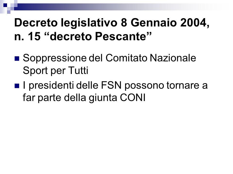 """Decreto legislativo 8 Gennaio 2004, n. 15 """"decreto Pescante"""" Soppressione del Comitato Nazionale Sport per Tutti I presidenti delle FSN possono tornar"""