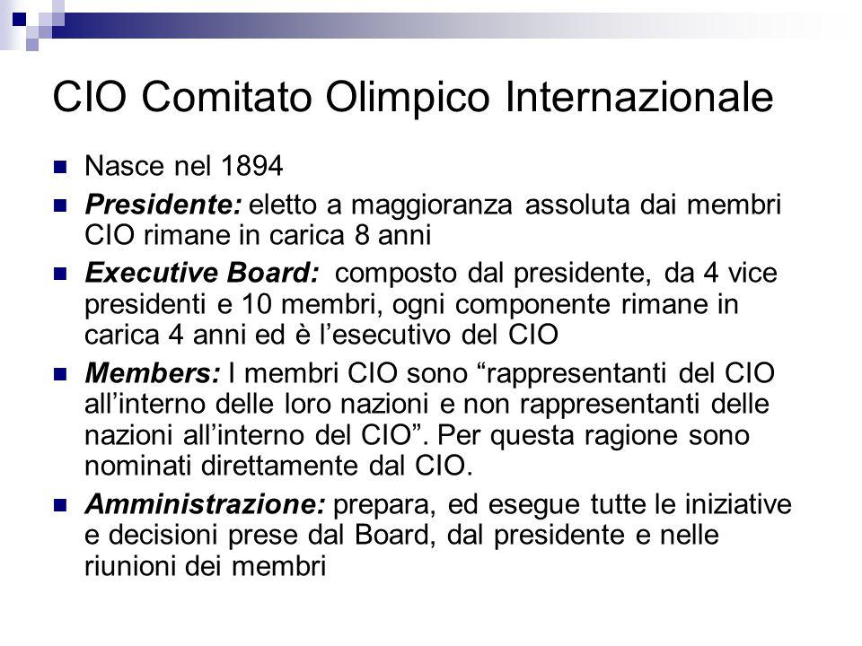 CIO Comitato Olimpico Internazionale Nasce nel 1894 Presidente: eletto a maggioranza assoluta dai membri CIO rimane in carica 8 anni Executive Board: