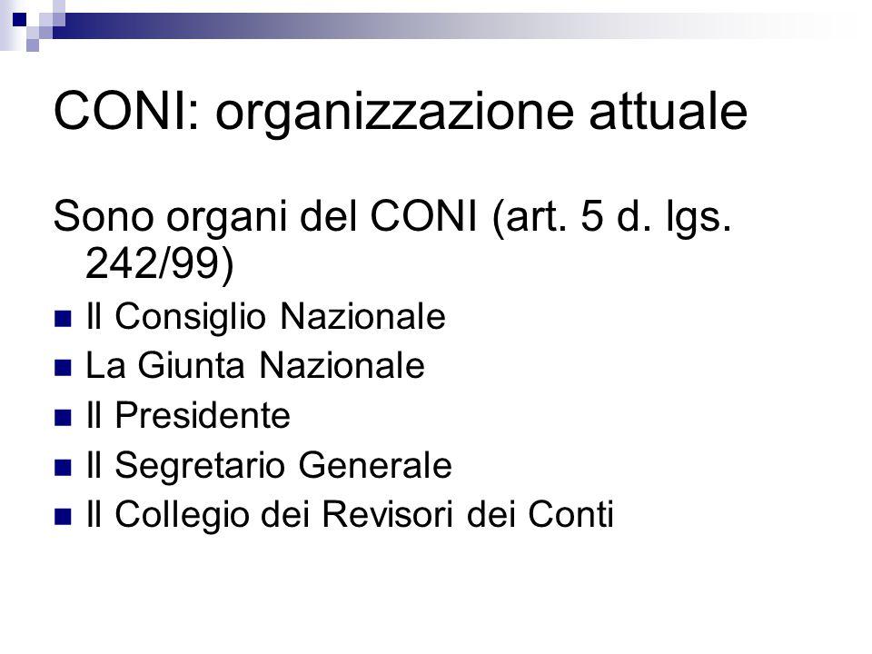CONI: organizzazione attuale Sono organi del CONI (art. 5 d. lgs. 242/99) Il Consiglio Nazionale La Giunta Nazionale Il Presidente Il Segretario Gener