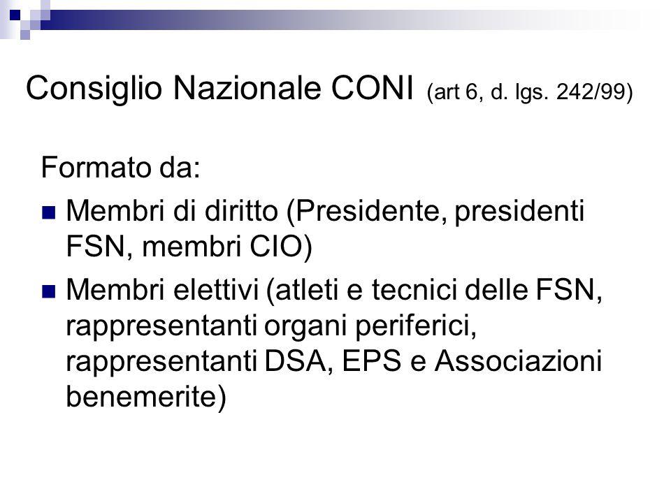 Consiglio Nazionale CONI (art 6, d. lgs. 242/99) Formato da: Membri di diritto (Presidente, presidenti FSN, membri CIO) Membri elettivi (atleti e tecn