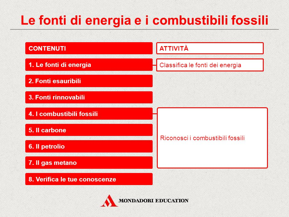 Le fonti di energia e i combustibili fossili CONTENUTI 1.