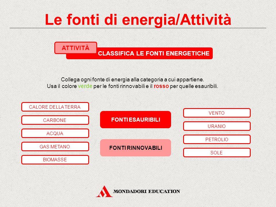 Le fonti di energia/Attività Collega ogni fonte di energia alla categoria a cui appartiene.
