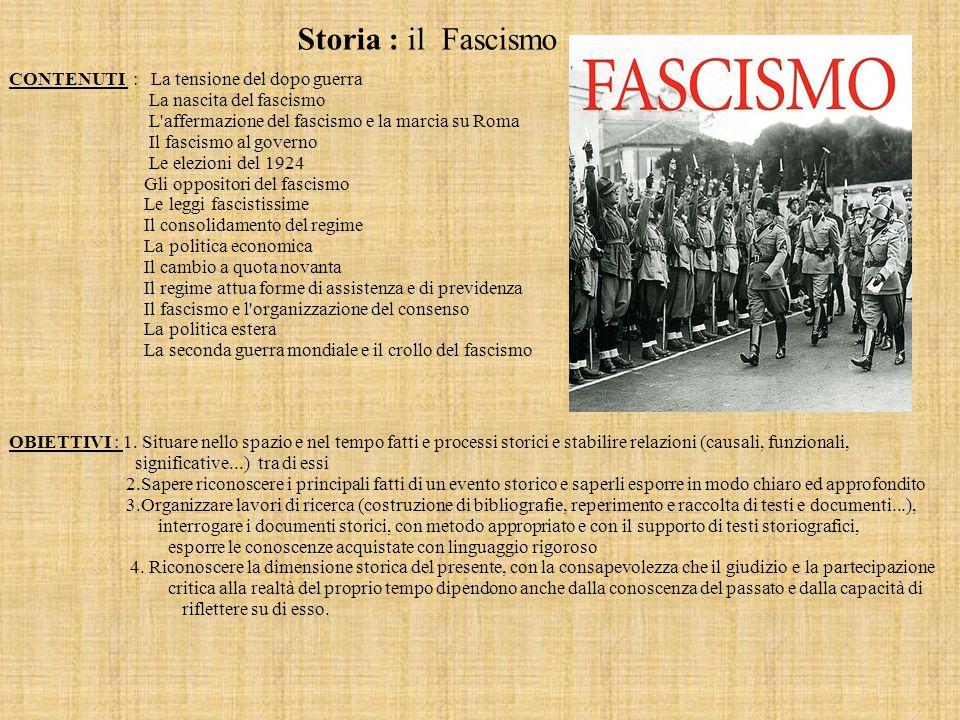 Storia : il Fascismo OBIETTIVI : 1. Situare nello spazio e nel tempo fatti e processi storici e stabilire relazioni (causali, funzionali, significativ
