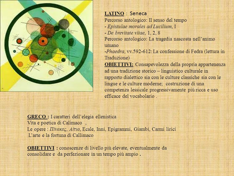 LATINO : Seneca Percorso antologico: Il senso del tempo - Epistulae morales ad Lucilium, I - De brevitate vitae, 1, 2, 8 Percorso antologico: La trage