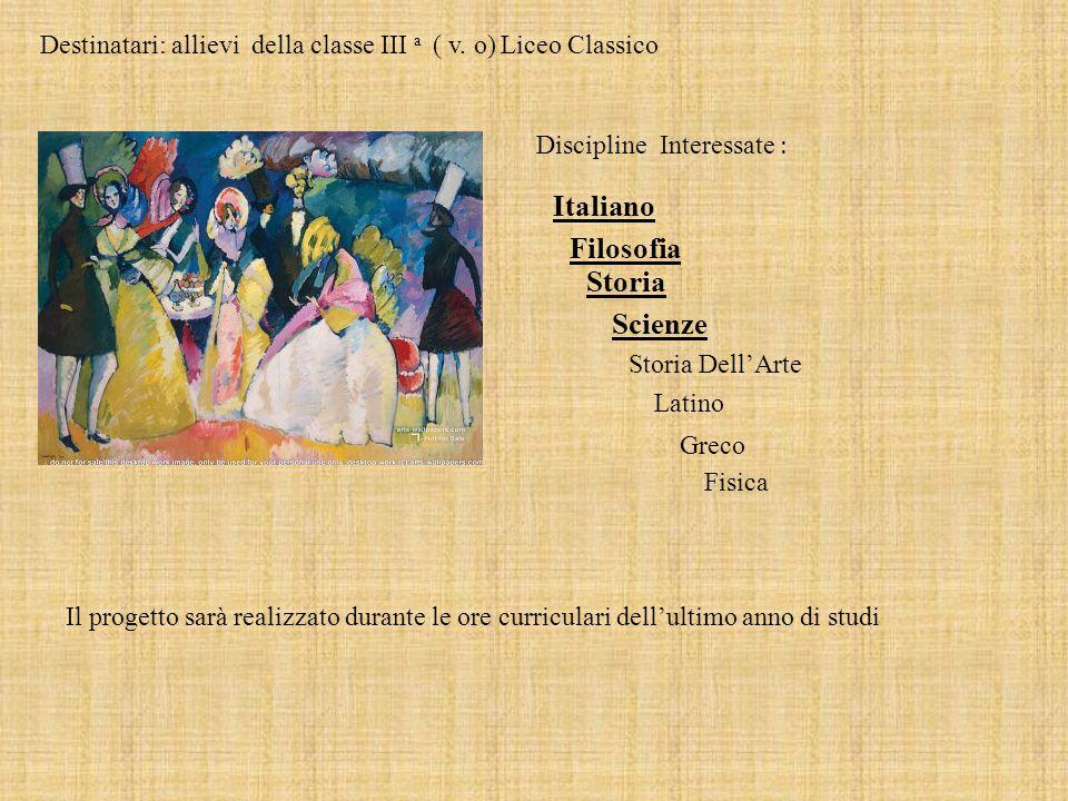 Destinatari: allievi della classe III a ( v. o) Liceo Classico Discipline Interessate : Italiano Storia Filosofia Scienze Storia Dell'Arte Latino Grec