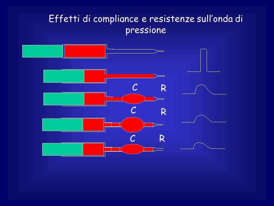 Effetti di compliance e resistenze sull'onda di pressione CR C R C R