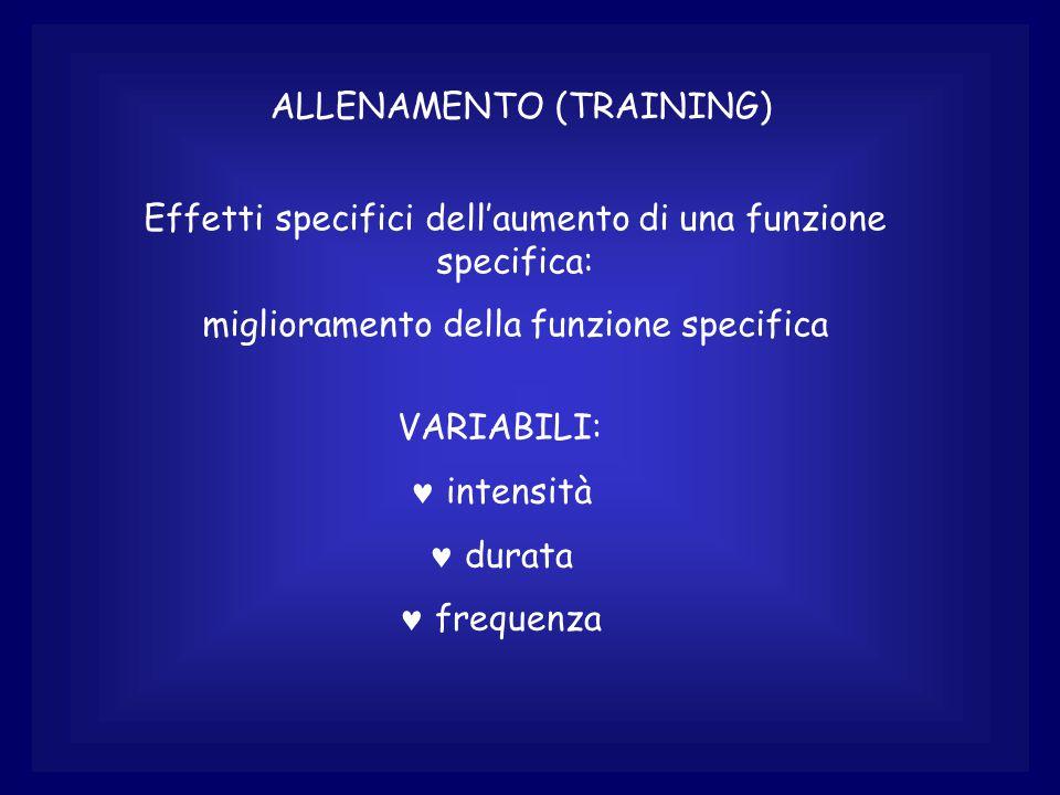 ALLENAMENTO (TRAINING) Effetti specifici dell'aumento di una funzione specifica: miglioramento della funzione specifica VARIABILI: © intensità © durata © frequenza