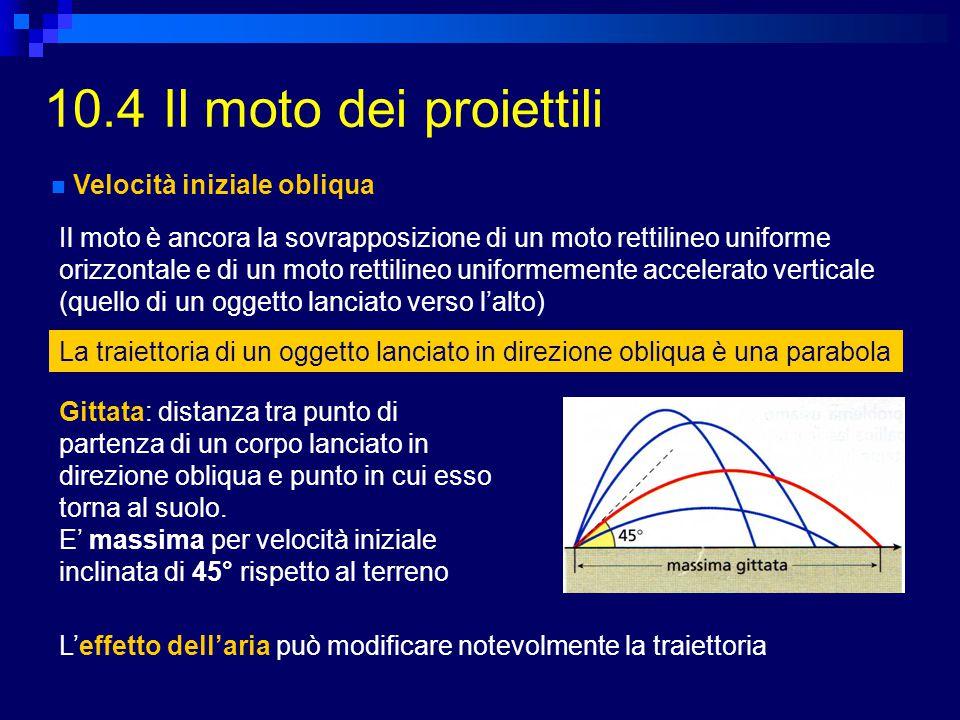 10.4 Il moto dei proiettili Velocità iniziale obliqua Il moto è ancora la sovrapposizione di un moto rettilineo uniforme orizzontale e di un moto rett