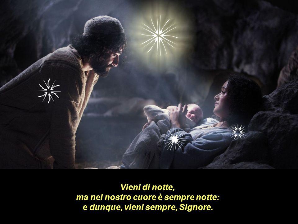 Vieni di notte, ma nel nostro cuore è sempre notte: e dunque, vieni sempre, Signore.