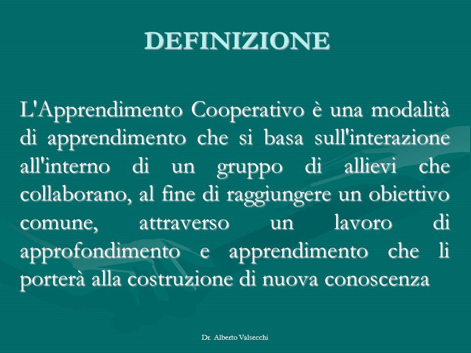 Dr. Alberto Valsecchi DEFINIZIONE L'Apprendimento Cooperativo è una modalità di apprendimento che si basa sull'interazione all'interno di un gruppo di