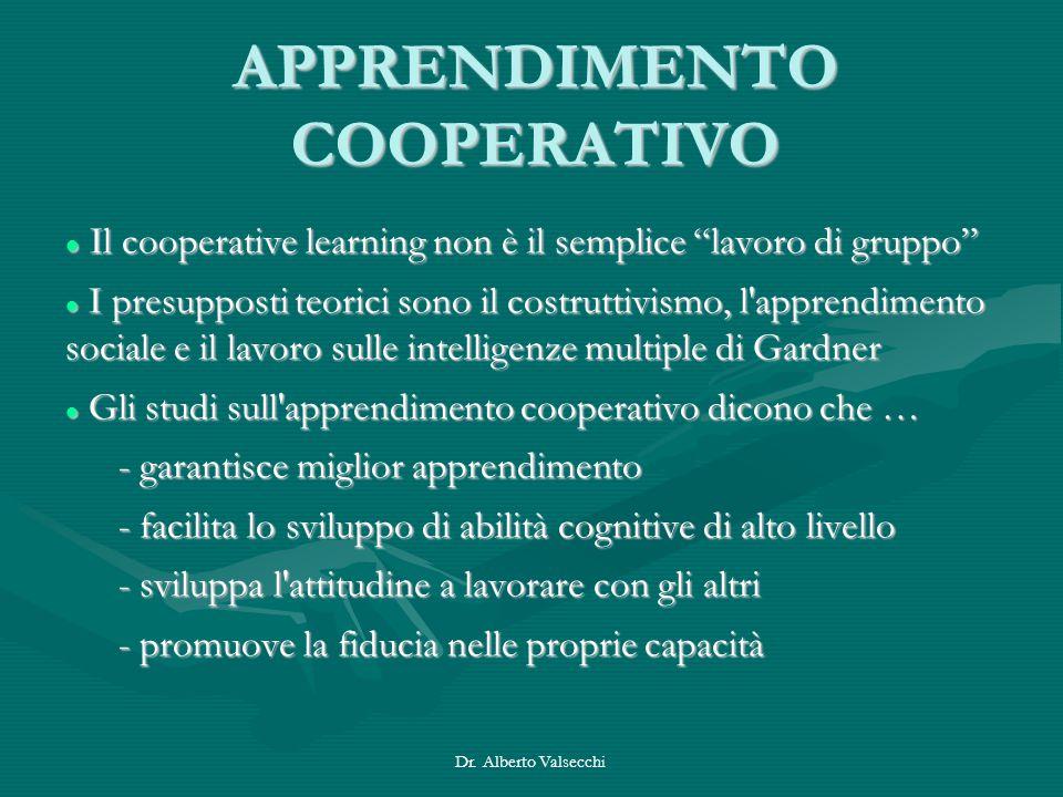 """Dr. Alberto Valsecchi APPRENDIMENTO COOPERATIVO Il cooperative learning non è il semplice """"lavoro di gruppo"""" Il cooperative learning non è il semplice"""