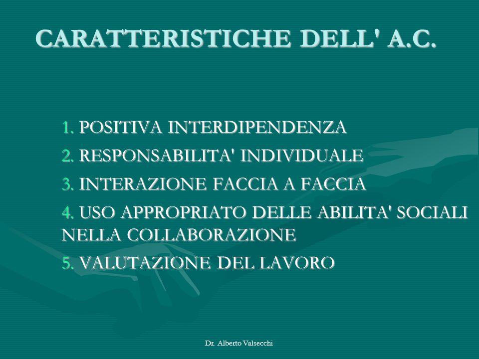 Dr. Alberto Valsecchi CARATTERISTICHE DELL' A.C. 1. POSITIVA INTERDIPENDENZA 2. RESPONSABILITA' INDIVIDUALE 3. INTERAZIONE FACCIA A FACCIA 4. USO APPR