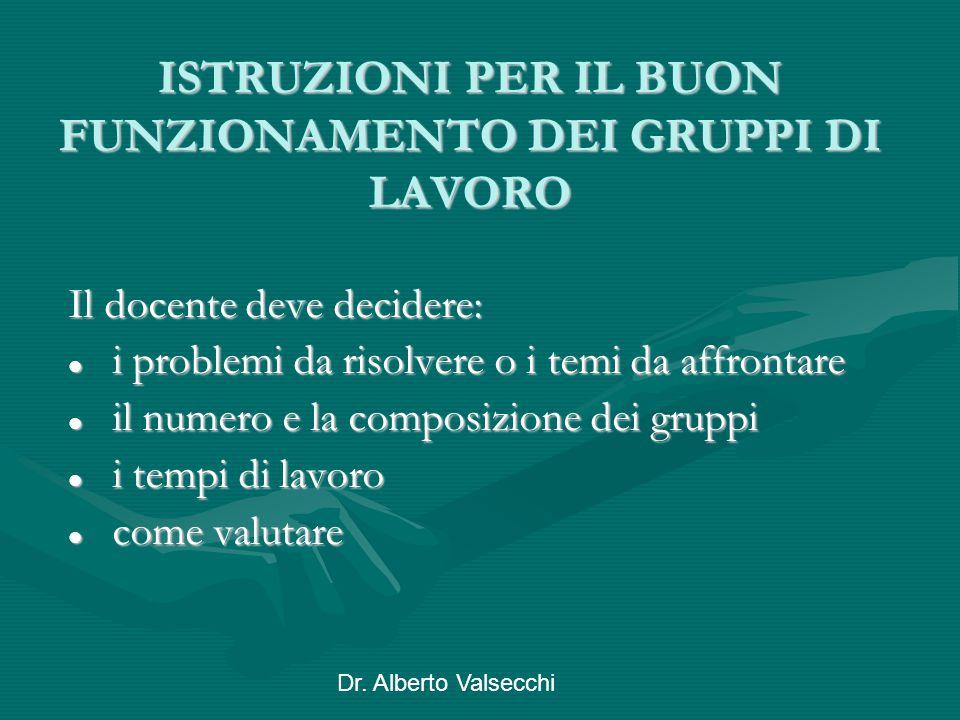Dr. Alberto Valsecchi ISTRUZIONI PER IL BUON FUNZIONAMENTO DEI GRUPPI DI LAVORO Il docente deve decidere: i problemi da risolvere o i temi da affronta