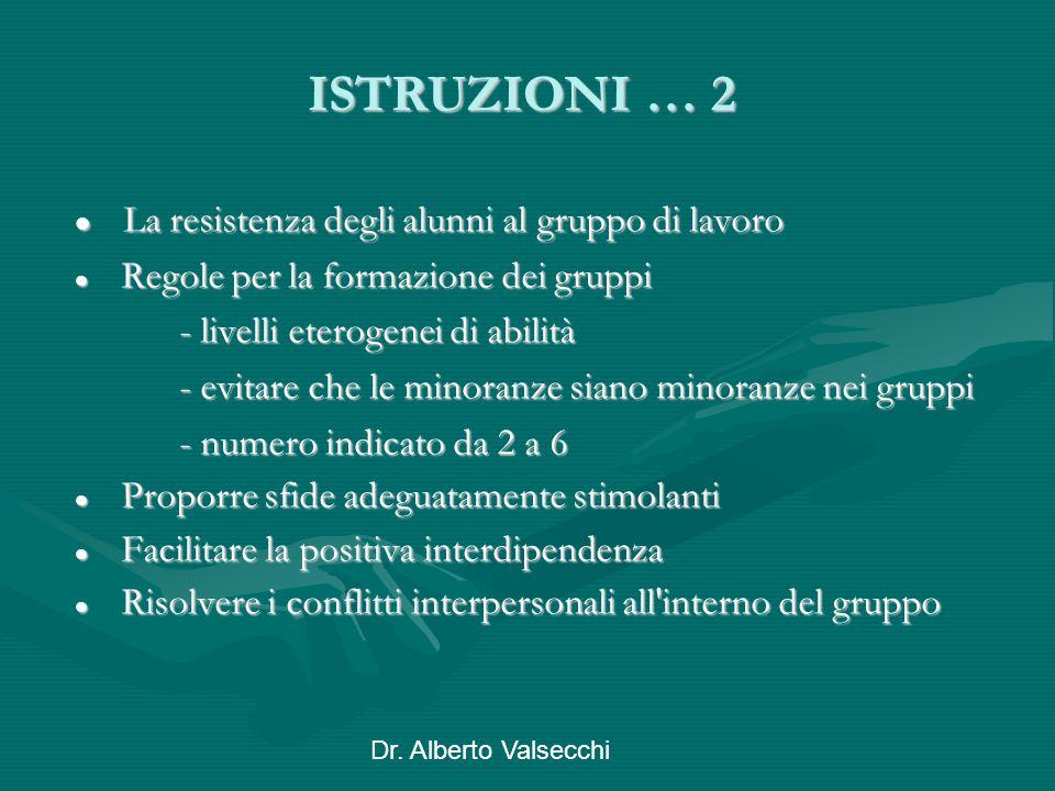 Dr. Alberto Valsecchi ISTRUZIONI … 2 La resistenza degli alunni al gruppo di lavoro La resistenza degli alunni al gruppo di lavoro Regole per la forma