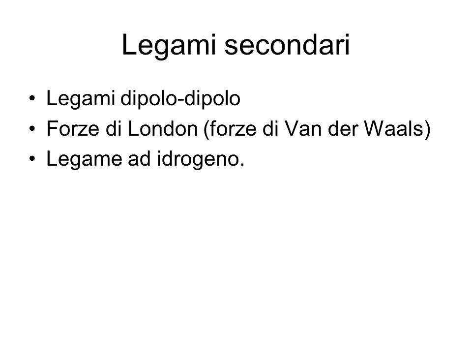 Legami secondari Legami dipolo-dipolo Forze di London (forze di Van der Waals) Legame ad idrogeno.