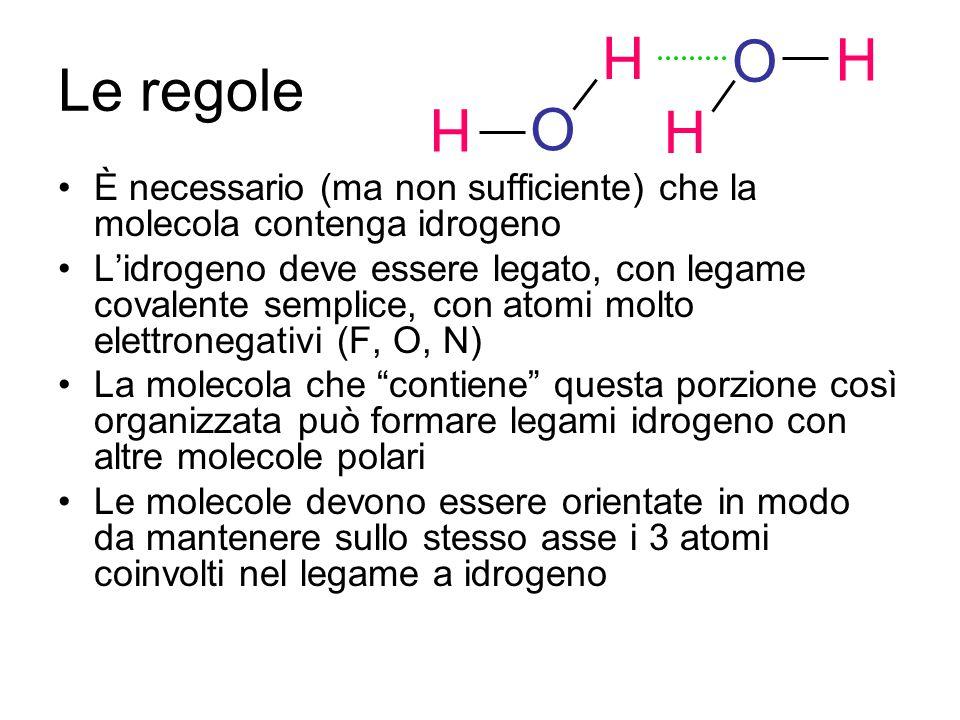 Le regole È necessario (ma non sufficiente) che la molecola contenga idrogeno L'idrogeno deve essere legato, con legame covalente semplice, con atomi molto elettronegativi (F, O, N) La molecola che contiene questa porzione così organizzata può formare legami idrogeno con altre molecole polari Le molecole devono essere orientate in modo da mantenere sullo stesso asse i 3 atomi coinvolti nel legame a idrogeno H O H H O H