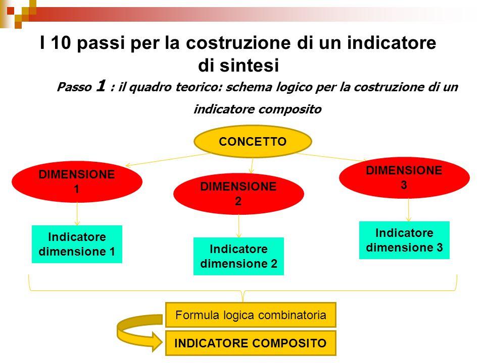 Passo 1 : il quadro teorico: schema logico per la costruzione di un indicatore composito I 10 passi per la costruzione di un indicatore di sintesi CONCETTO DIMENSIONE 1 DIMENSIONE 2 DIMENSIONE 3 Indicatore dimensione 1 Indicatore dimensione 2 Indicatore dimensione 3 Formula logica combinatoria INDICATORE COMPOSITO
