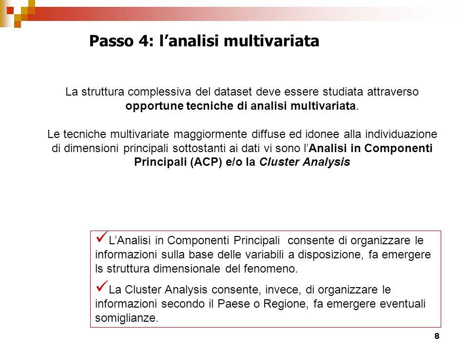 8 Passo 4: l'analisi multivariata L'Analisi in Componenti Principali consente di organizzare le informazioni sulla base delle variabili a disposizione, fa emergere ls struttura dimensionale del fenomeno.