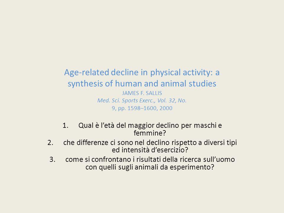 Qual è l'età del maggior declino per maschi e femmine.