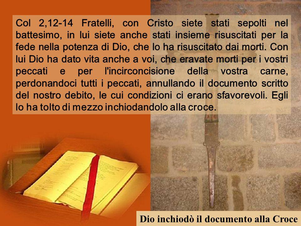 Col 2,12-14 Fratelli, con Cristo siete stati sepolti nel battesimo, in lui siete anche stati insieme risuscitati per la fede nella potenza di Dio, che lo ha risuscitato dai morti.
