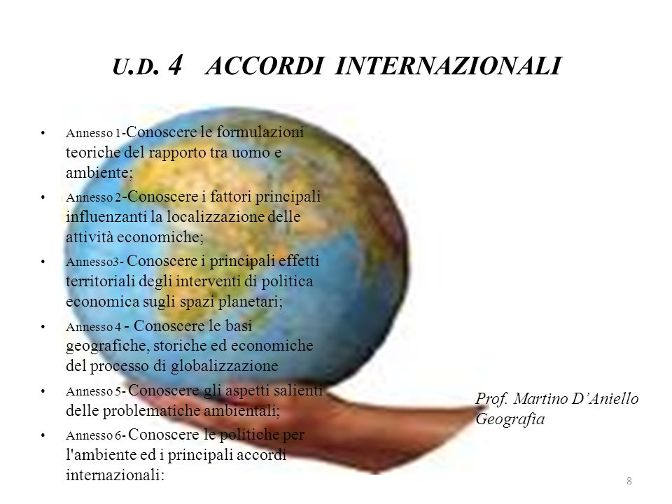 U. D. 4 ACCORDI INTERNAZIONALI Annesso 1- Conoscere le formulazioni teoriche del rapporto tra uomo e ambiente; Annesso 2 -Conoscere i fattori principa
