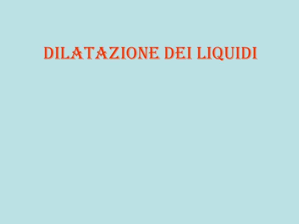 Liquido A Liquidi uguali livello iniziale uguale variazione temperatura uguale un volume doppio dell'altro aumento volume proporzionale a volume iniziale V1 V2 = 2V1 c c c aV(t) = K.V° volume temperatura V1 V2